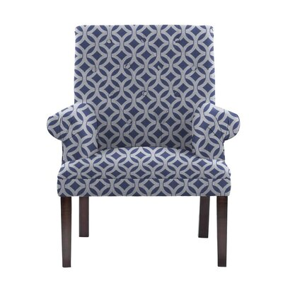 Hudspeth Armchair Upholstery: Impala Blue/White Geometric1