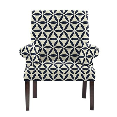 Hudspeth Armchair Upholstery: Derry Navy Blue/White Geometric