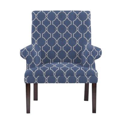 Hudspeth Armchair Upholstery: Solange Blue/White Geometric2