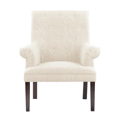 Hudspeth Armchair Upholstery: Elon White/Off-white Solid