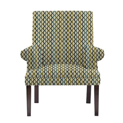 Woodley Armchair Upholstery: Zenith Green/Blue/Off-White Geometric