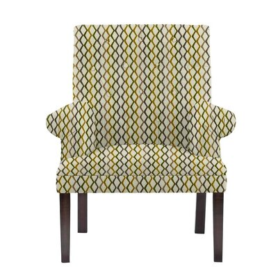 Woodley Armchair Upholstery: Zenith Off-White/Green/Gray Geometric