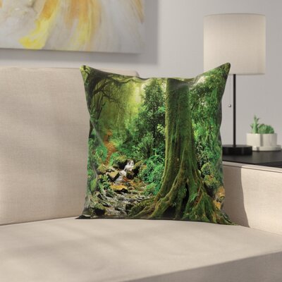 Forest Moss on Trees Stream Square Pillow Cover Size: 24 x 24