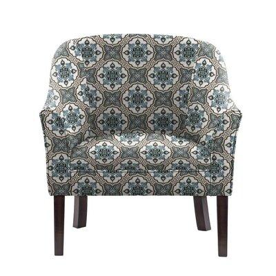 Ericksen Barrel Chair Upholstery: Illiad Blue/Gray/White Damask