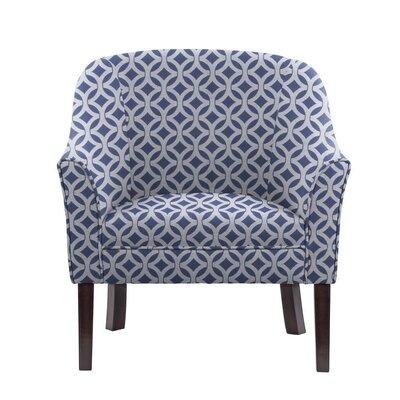 Ericksen Barrel Chair Upholstery: Impala Blue/White Geometric1