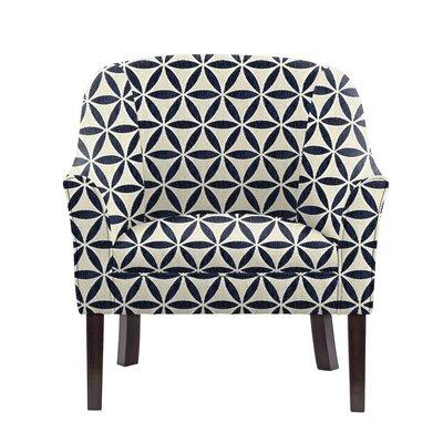 Ericksen Barrel Chair Upholstery: Derry Navy Blue/White Geometric