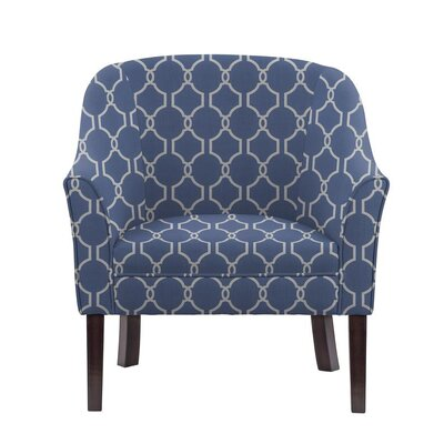 Ericksen Barrel Chair Upholstery: Solange Blue/White Geometric2