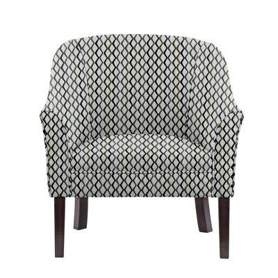 Woodman Barrel Chair Upholstery: Zenith Gray/blue/off-white Geometric