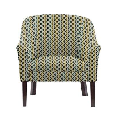 Woodman Barrel Chair Upholstery: Zenith Green/Blue/Off-White Geometric