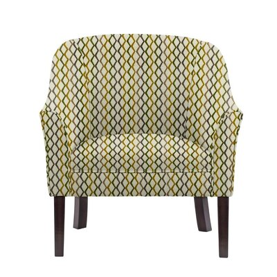 Woodman Barrel Chair Upholstery: Zenith Off-White/Green/Gray Geometric