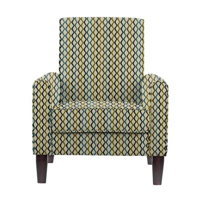 Woodmansee Armchair Upholstery: Zenith Green/Blue/Off-White Geometric