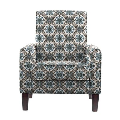 Erik Armchair Upholstery: Illiad Blue/Gray/White Damask