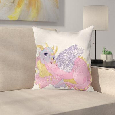 Cartoon Cute Lady Dragon Posing Cushion Pillow Cover Size: 18 x 18