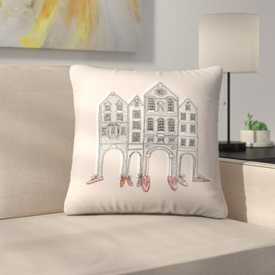Friendly Buildings 2 Throw Pillow Size: 16 x 16