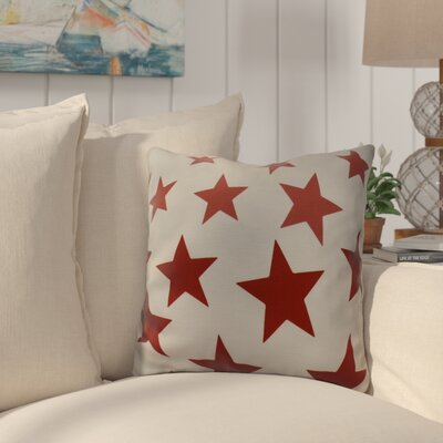 Petersfield Just Stars Indoor/Outdoor Throw Pillow Size: 16 H x 16 W, Color: Red