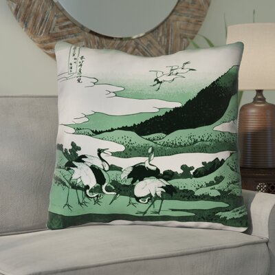 Montreal Japanese Cranes Outdoor Throw Pillow Size: 16 x 16 , Pillow Cover Color: Green