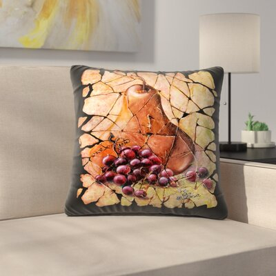 Olena Art Vintage Pear and Grapes Fresco Throw Pillow Size: 16 x 16
