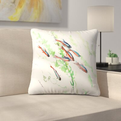 Neon Tetra Fish Aquarium Throw Pillow Size: 14 x 14