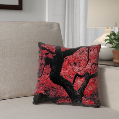Ghost Train Japanese Maple Tree Printed Zipper Pillow Cover Color: Red, Size: 14 x 14