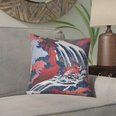 Channelle Horse and Waterfall Indoor/Outdoor Throw Pillow Color: Red/Blue, Size: 18 x 18