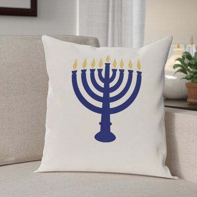 Holiday Geometric Print Light The Menorah Throw Pillow Size: 26 H x 26 W, Color: White