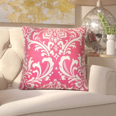 Keeley Damask Cotton Throw Pillow Cover Color: Candy Pink
