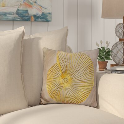 Buckelew Seashell Throw Pillow Color: Gray/Yellow