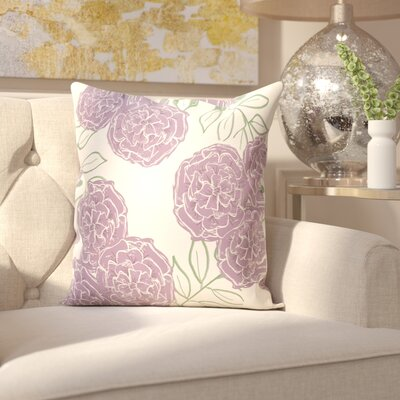 Birness Flower Throw Pillow Size: 26 H x 26 W, Color: Ivory / Purple