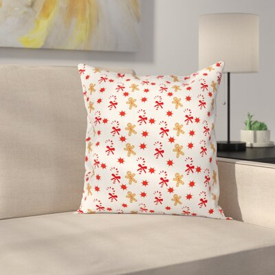 Gingerbread Man Candy Star Square Pillow Cover Size: 20 x 20