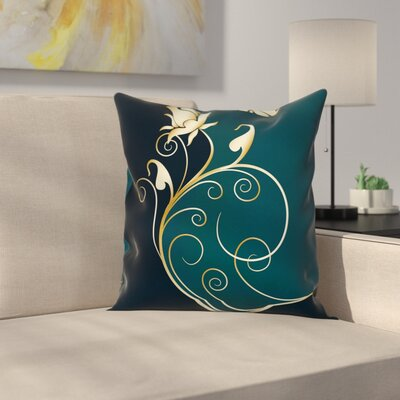 Modern Floral Graphic Pillow Cover with Zipper Size: 24 x 24