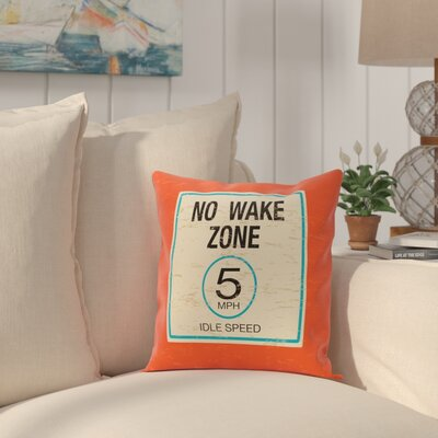 Golden Beach No Wake Word Throw Pillow Size: 20 H x 20 W, Color: Orange