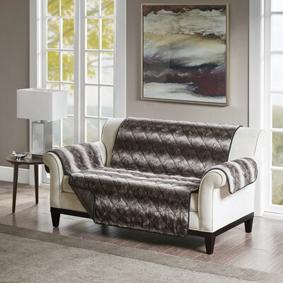Floral Cotton Printed Reversible Box Cushion Loveseat Slipcover Upholstery: Polyester Solid Black