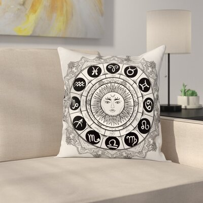 Astrology Mandala Ethnic Kitsch Square Pillow Cover Size: 20 x 20