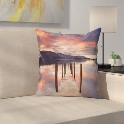 Modern Landscape Pillow Cover with Zipper Size: 16