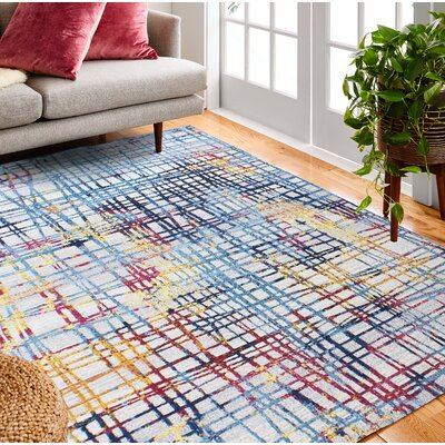 Huissen Blue/Pink Area Rug Rug Size: Rectangle 76 x 96