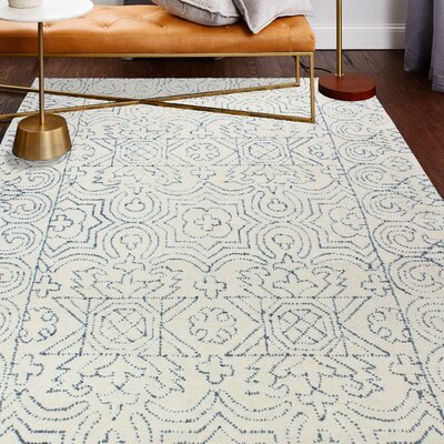 Dube Hand-Woven Wool Ivory/Teal Area Rug Rug Size: Rectangle 5 x 76