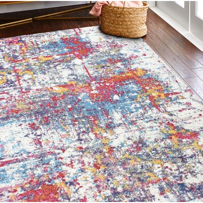 Huissen Pink/Blue Area Rug Rug Size: Rectangle 86 x 116