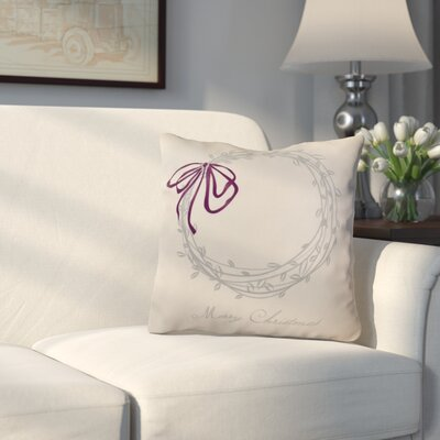 Decorative Holiday Word Print Outdoor Throw Pillow Size: 16 H x 16 W, Color: Gray