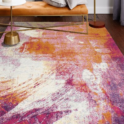 Goyette Fuchsia Area Rug Rug Size: Rectangle 36 x 56