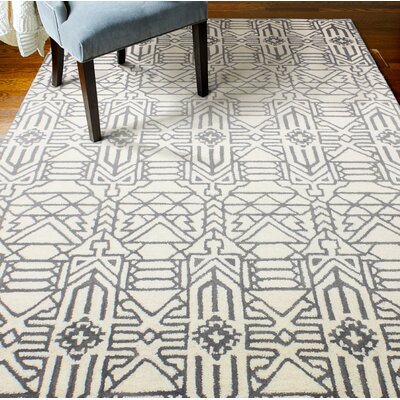 Lonergan Hand-Woven Wool Ivory/Gray Area Rug Rug Size: Rectangle 86 x 116