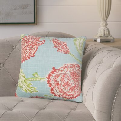Monegro Floral Throw Pillow Cover Color: Aqua Red