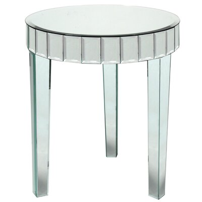 Mcfee Round Beveled Mirror End Table