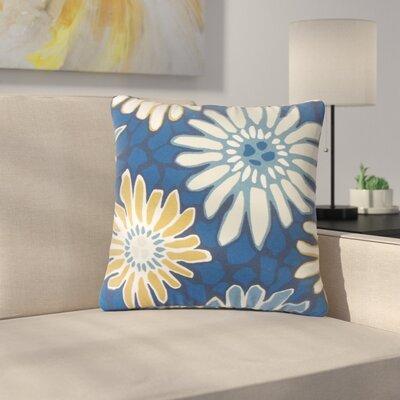 Strock Floral Cotton Throw Pillow Color: Blue