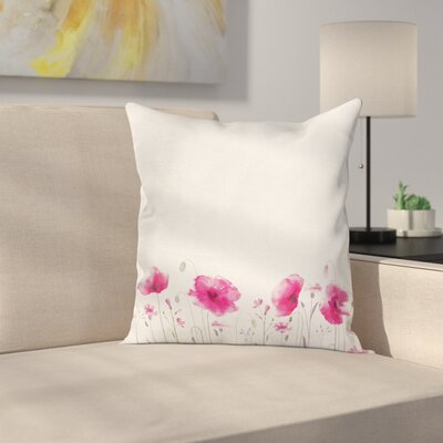 Floral Poppy Flowers Art Square Pillow Cover Size: 20 x 20