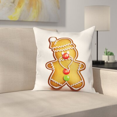 Gingerbread Man Cartoon Santa Square Pillow Cover Size: 24 x 24