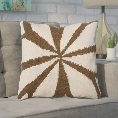 Rametta Throw Pillow Size: 18 H x 18 W x 4 D, Color: Brown/Ivory, Filler: Polyester
