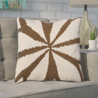 Rametta Throw Pillow Size: 18 H x 18 W x 4 D, Color: Brown/Ivory, Filler: Down