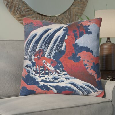 Channelle Horse and Waterfall Euro Pillow Color: Red/Blue