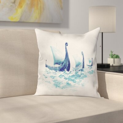 Viking Decor Case Ship Nordic Sea Square Pillow Cover Size: 16 x 16