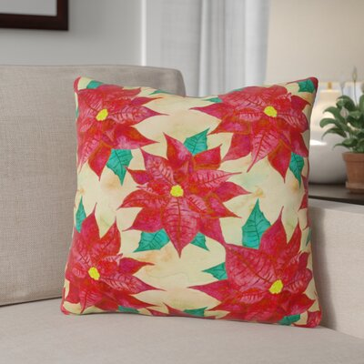 Poinsetta Christmas Outdoor Throw Pillow